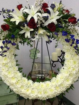 Patriotic Memorial Wreath with Swag