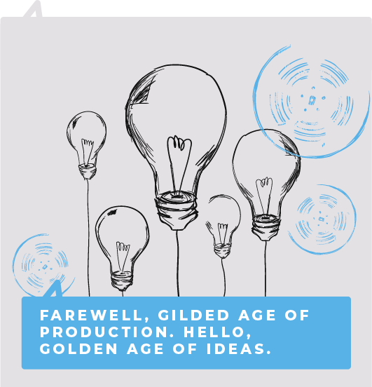 Farewell, gilded age of production. Hello, golden age of ideas