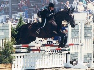 Between Friends and Lesley (Pasquarelli) Jenks showing in the ASPCA Maclay at Devon. Photo courtesy of Pennington Galleries, 1990.