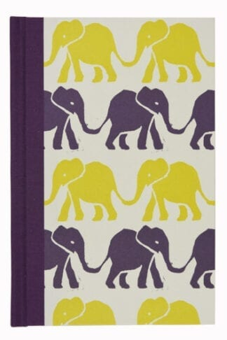 Elephants in Purple and Acid Yellow- Hardback Notebook