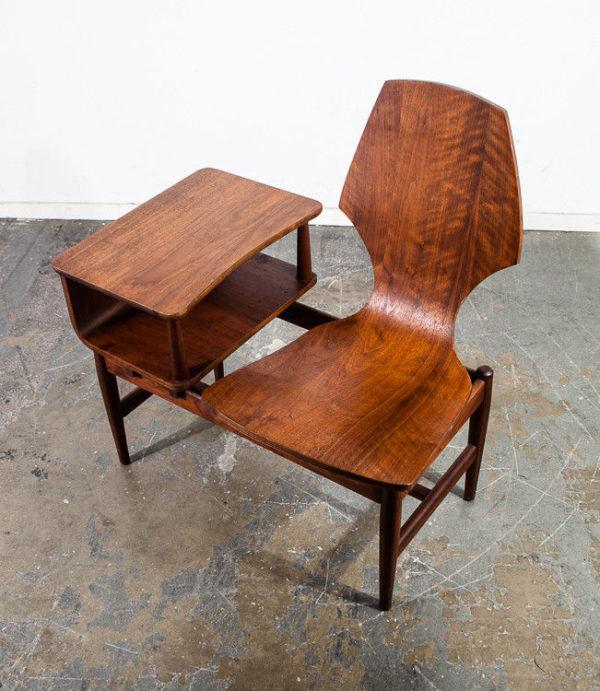 Mid Century Modern Gossip Bench Telephone Table Entryway Plycraft Vintage Walnut