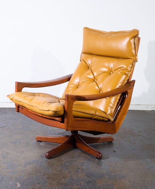 Admirable Mid Century Danish Modern Lounge Chair Recliner Solid Teak Lied Mobler Ottoman Mustard Yellow Leather Swivel Base Time Capsule Condition Dabxah Pabps2019 Wood Chair Design Ideas Dabxahpabps2019Com