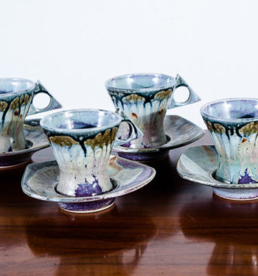 Mid Century Modern Tea Cup Saucer Set Jeff Morales Art Pottery Studio Porcelain