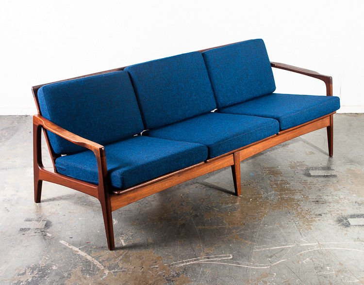 Mid century danish modern sofa couch solid teak japan vintage 3 seat blue  tweed japanese modern sculpted arms unique design living room seat