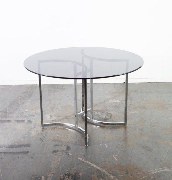 Mid Century Modern Dining Table Round Smoked Glass Chrome Milo Baughman Cal Style Vintage Mid Century Sacramento