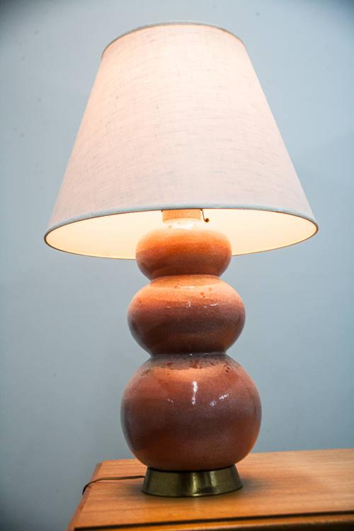Mid Century Modern Lamp Table Light Vintage White Pink Drip Glaze Round Lighting 3 Tier round Ceramic Hand Made Drip Glaze Glass Large Mcm