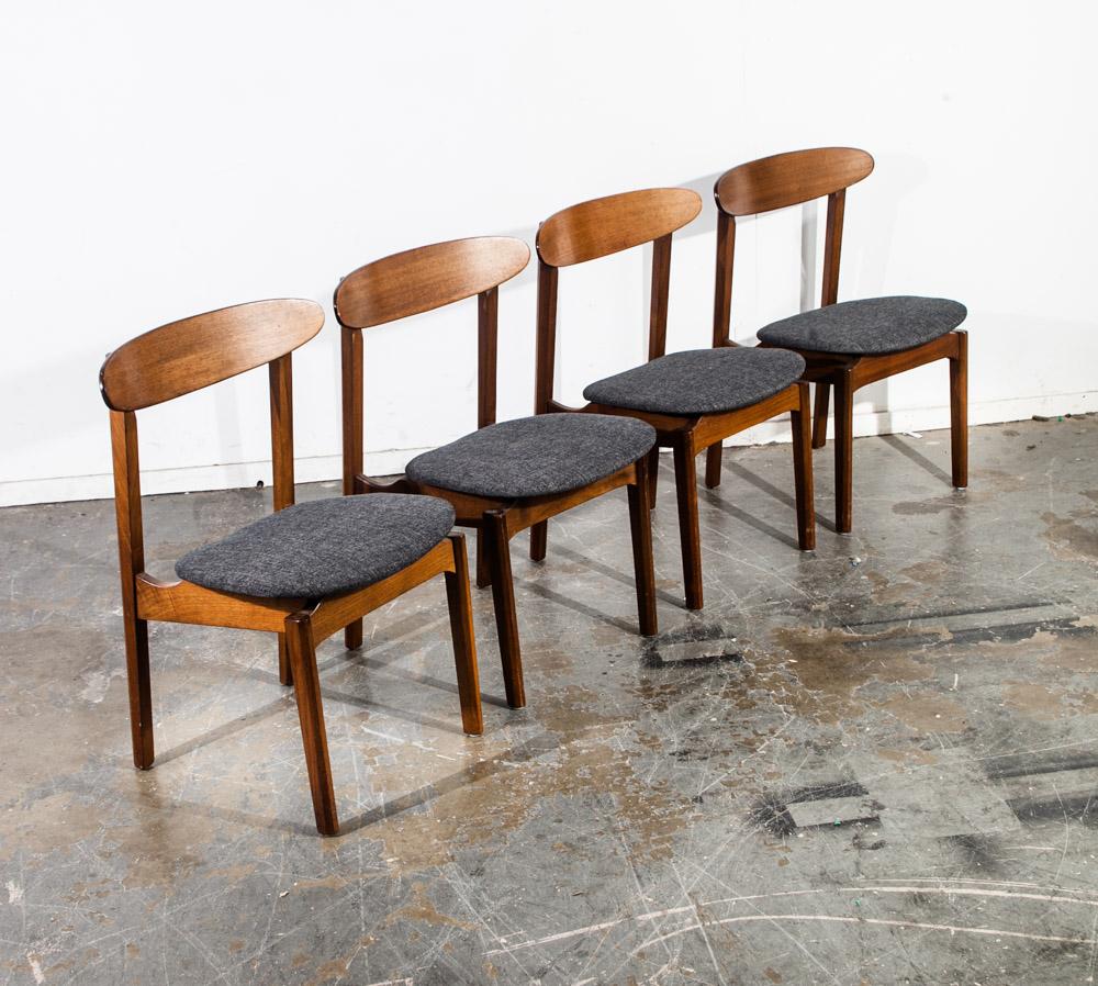 Mid Century Modern Dining Chairs Set 4 Barzilay Grey Tweed