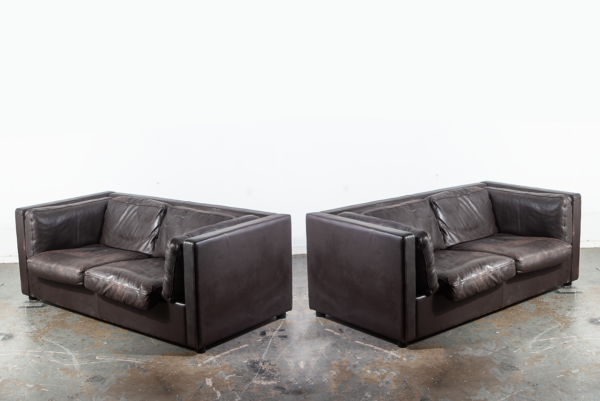 Prime Mid Century Danish Modern Settee Sofa Set Pair Leather Niel Eilersen Black Dark Brown Denmark De Sede Vintage Two Matching Couch Pabps2019 Chair Design Images Pabps2019Com