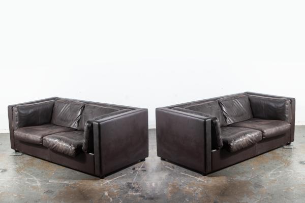 Mid Century Danish Modern Settee Sofa Set Pair Leather Niel ...