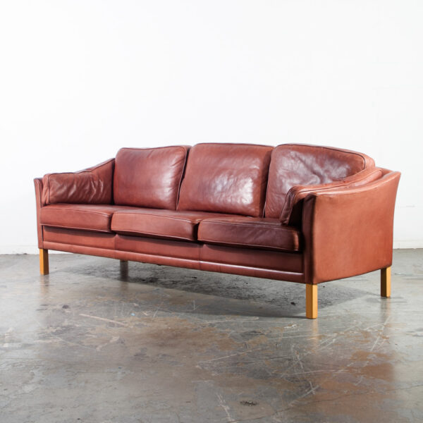 Fine Mid Century Danish Modern Sofa Couch Leather Ox Blood Red Pabps2019 Chair Design Images Pabps2019Com