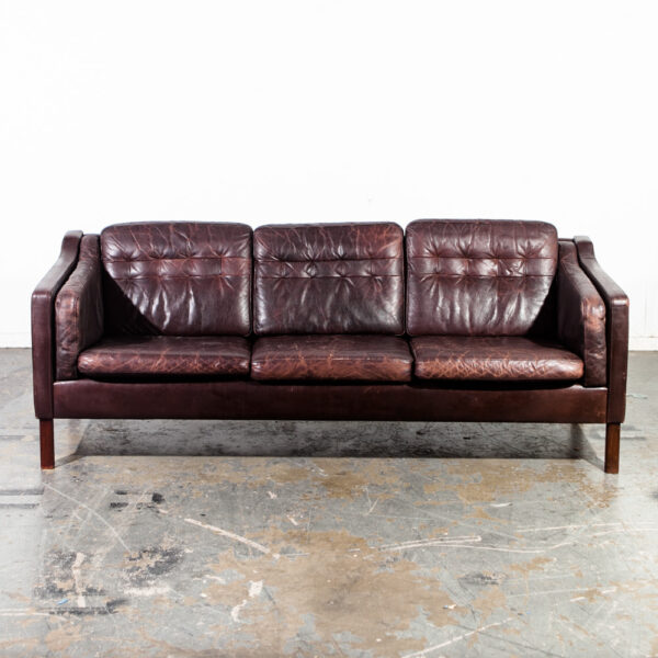 Stupendous Mid Century Danish Modern Sofa Couch Leather 3 Seater Borge Pabps2019 Chair Design Images Pabps2019Com