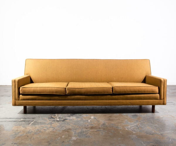 Miraculous Mid Century Modern American Three Seat Sofa Yellow Tweed Pabps2019 Chair Design Images Pabps2019Com