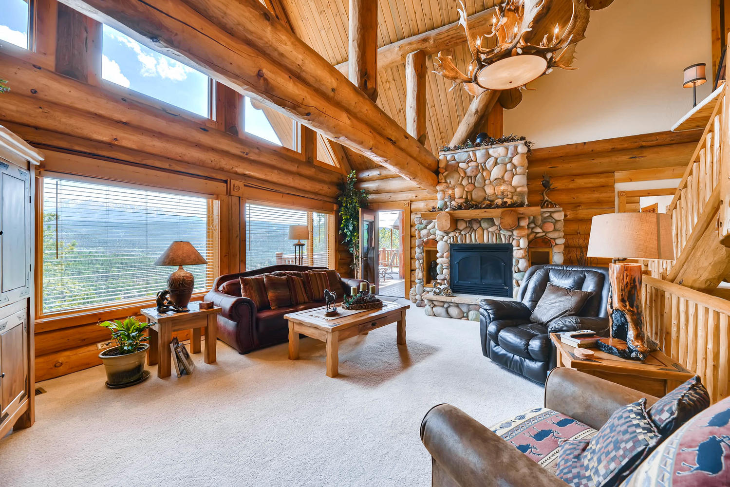 The living room looks right out to Pikes Peak!