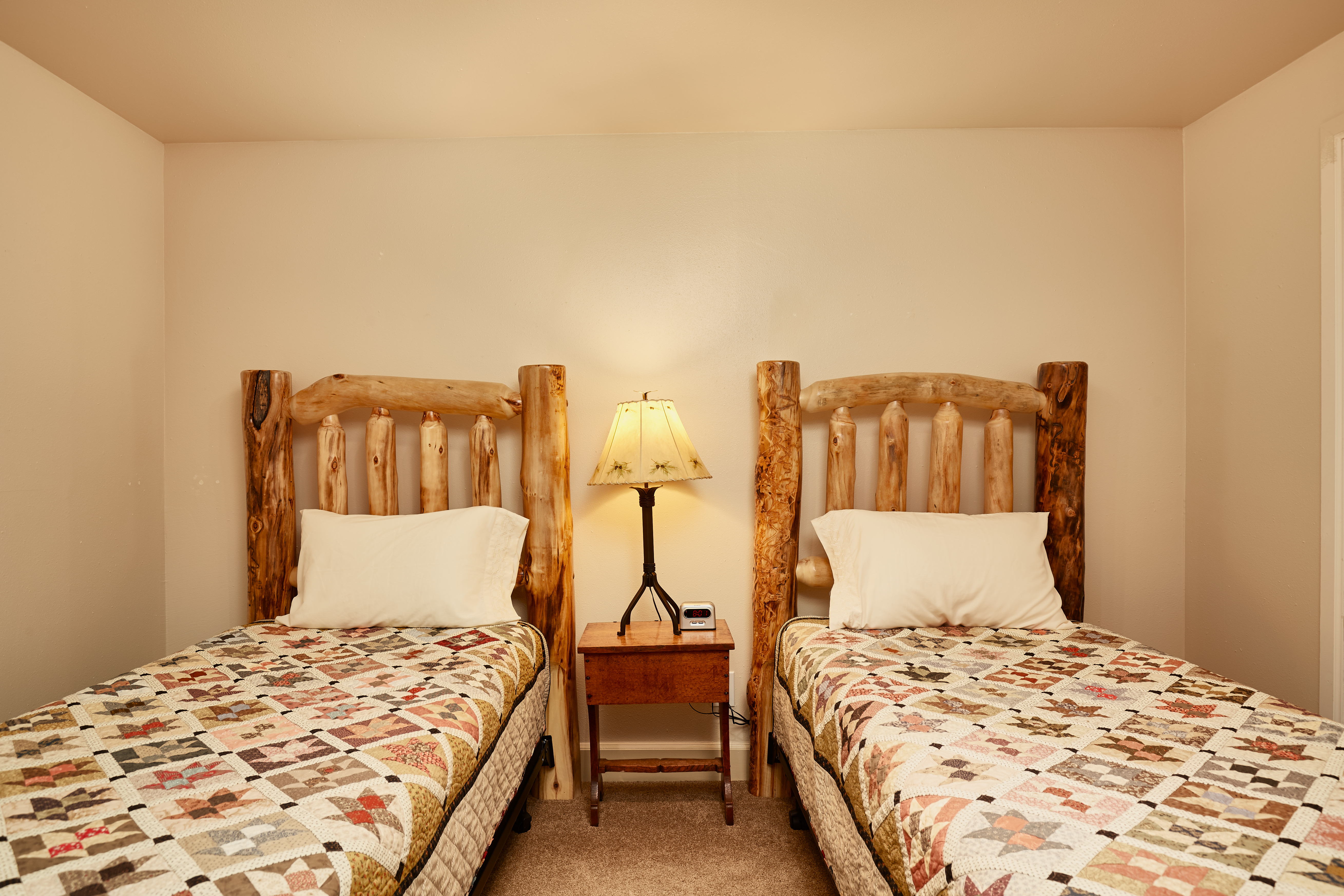 The second downstairs bedroom has two twin beds.