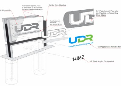 Lineart Isometric drawing. Illuminated Monument sign that reads UDR Unity Disposal and Recycling LLC