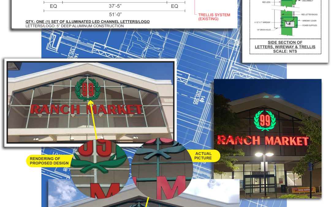 99 Ranch Market gets 4ft Channel Letters mounted with custom wireway
