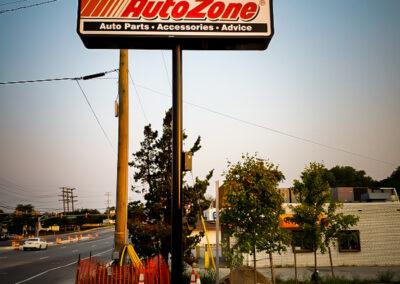 Autozone Illuminated Pylon Sign in Owensmill, MD