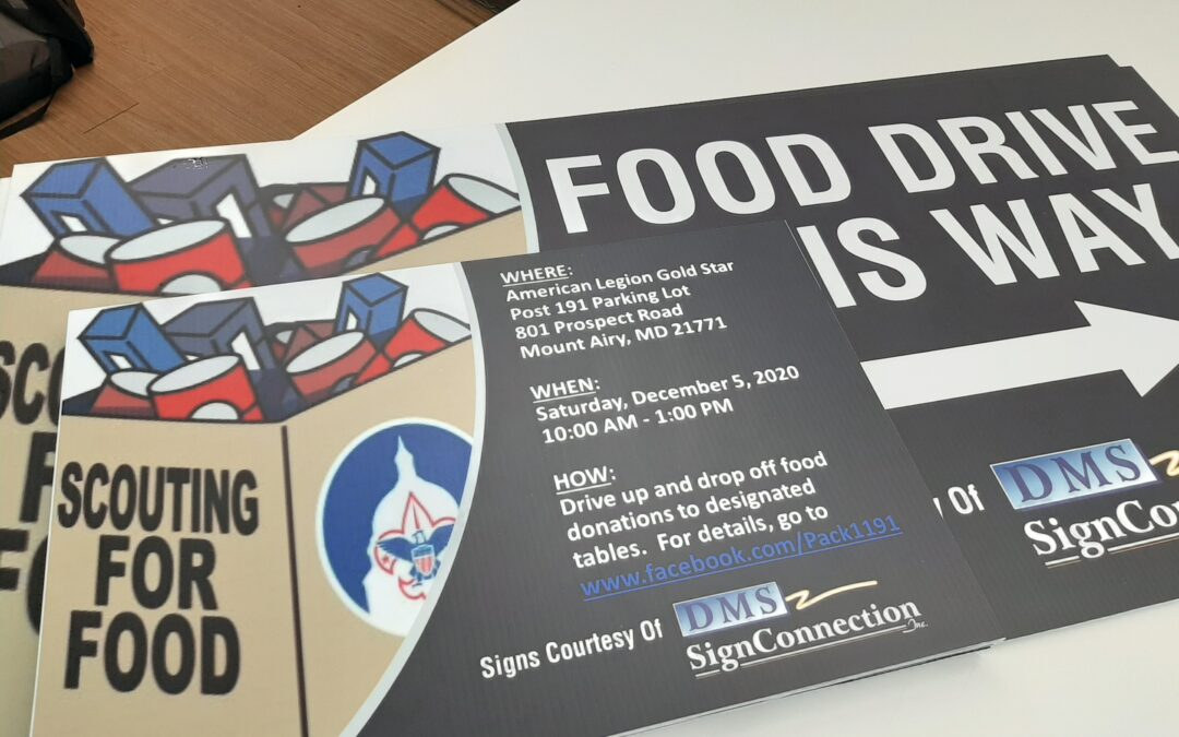 Food Drive Signs for American Legion Gold Star Mt Airy MD