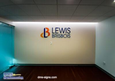 Lewis Brisbois Penn Ave Washington DC Window Film 3D Metal Letters