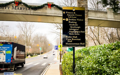 Baltimore College Campus Wayfinding Sign System Update after a Landmark Name Change
