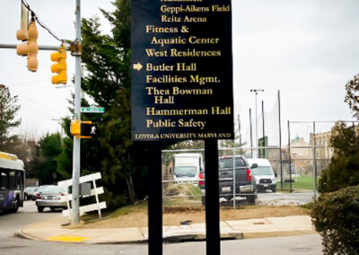 Loyola University Baltimore Maryland Wayfinding Sign Resurface Thea Bowman