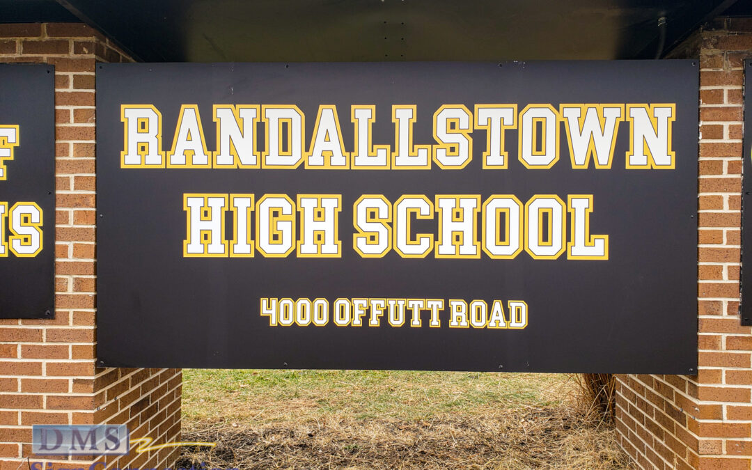 School monument sign retrofit in Randallstown MD gets new sign faces, new electrical wiring, and new roof