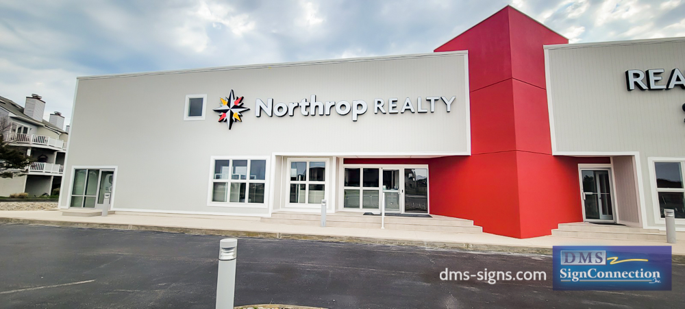 Handcrafted Large Format Illuminated Building Logo for Northrop Realty in Bethany Beach