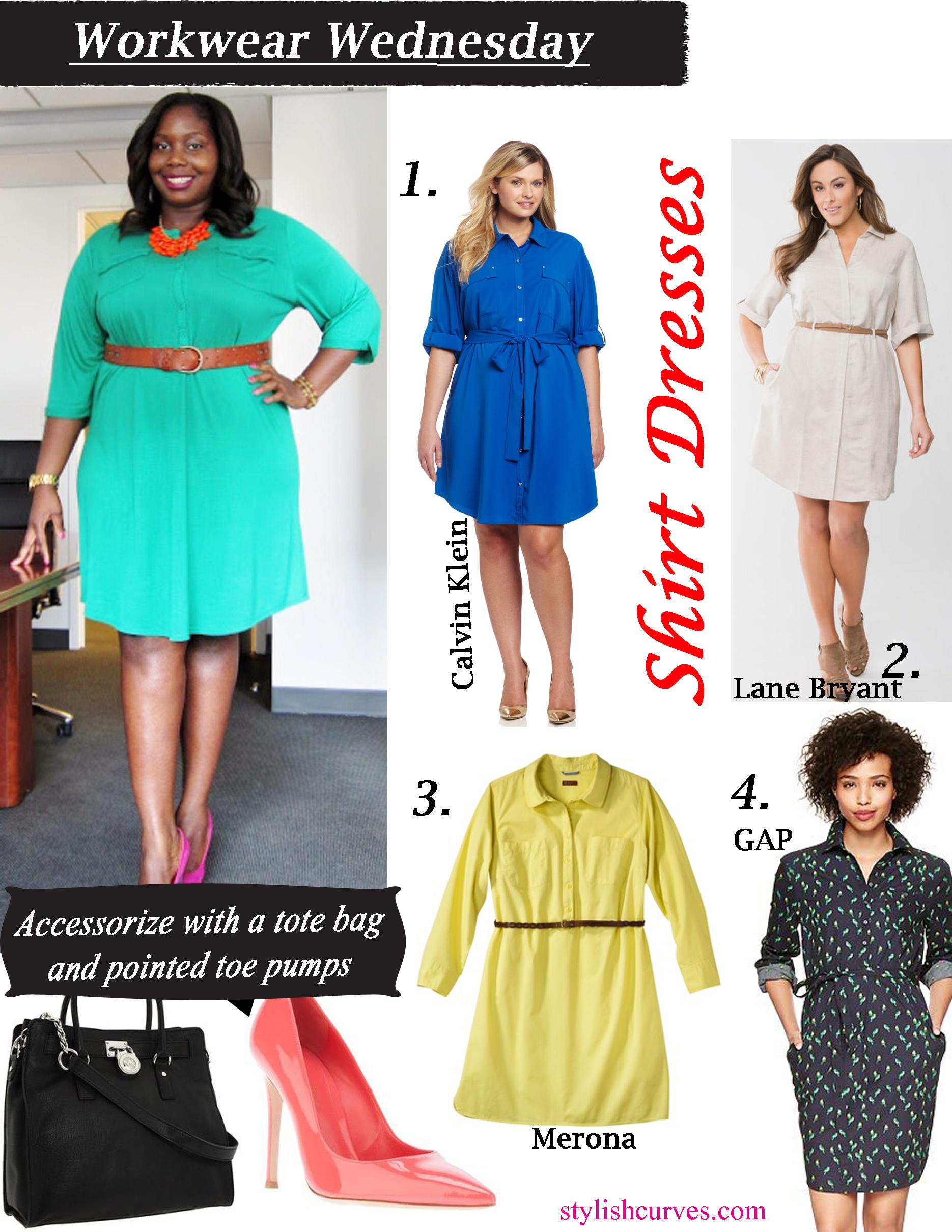 WORK-WEAR WEDNESDAY: PLUS SIZE SHIRT DRESSES | Stylish Curves