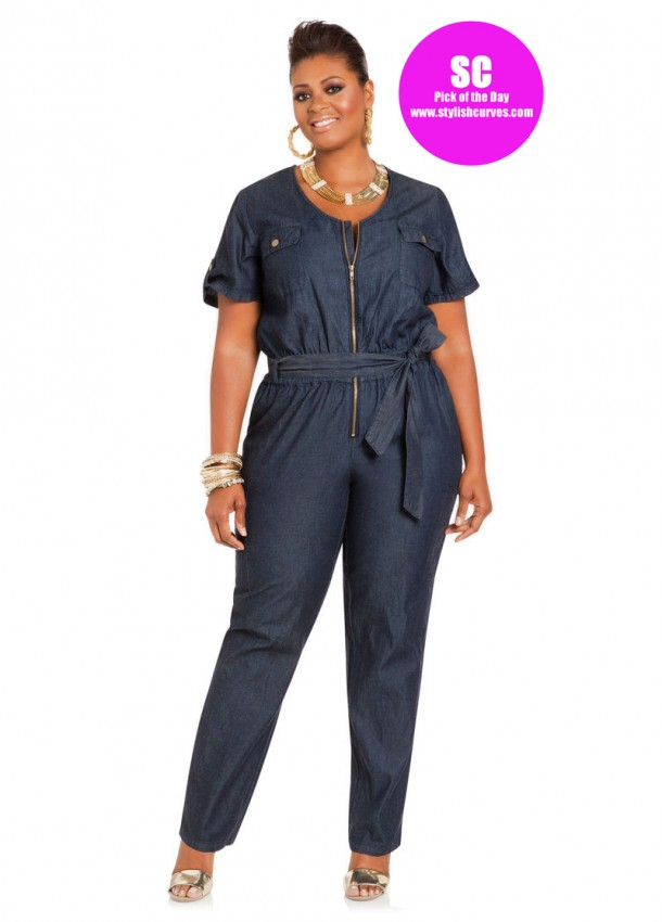 AShley Stewart plus size denim jumpsuit