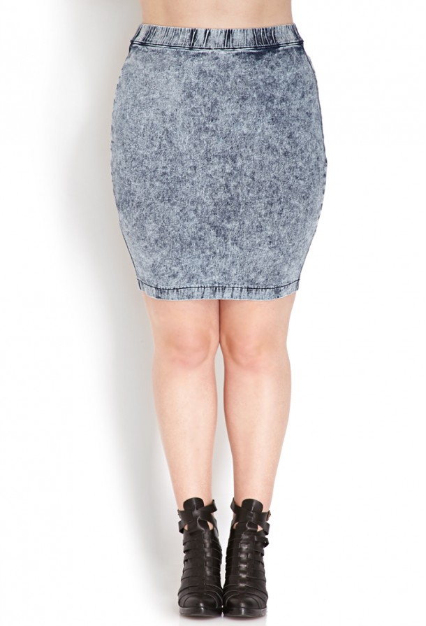 forever 21 plus denim skirt