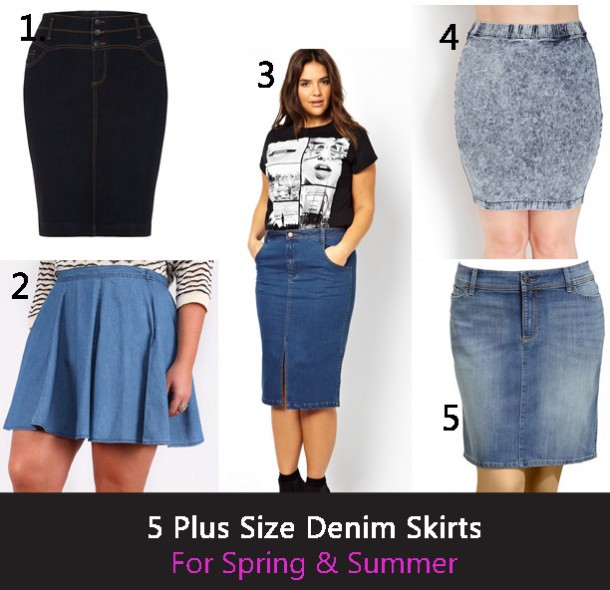 plus size denim skirts