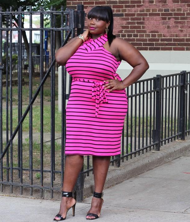 Ashley Stewart Striped Tee shirt dress