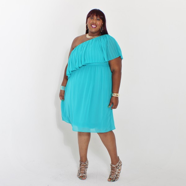 RMS Lane Bryant Pleated one shoulder dress