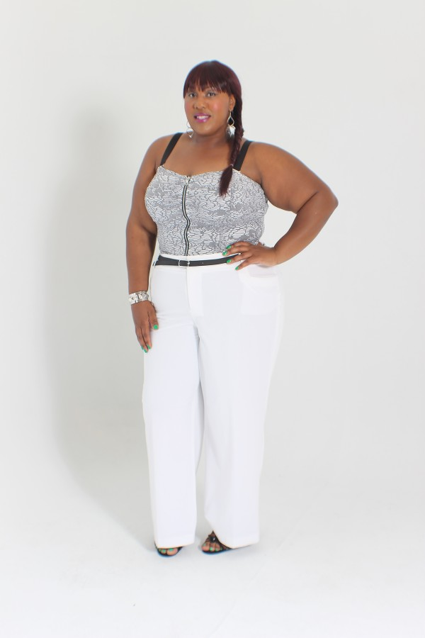 RMS Lane Bryant wide leg pants and bustier crop top