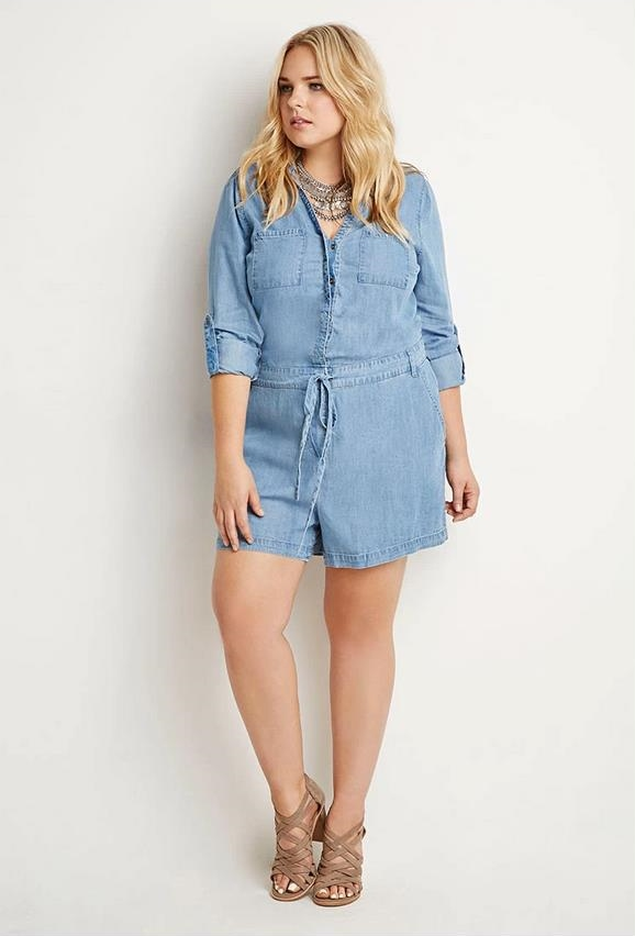 f21 plus size denim romper