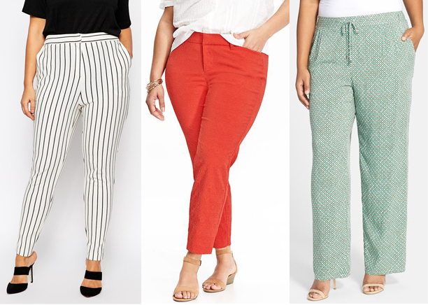 printed and colored plus size pants
