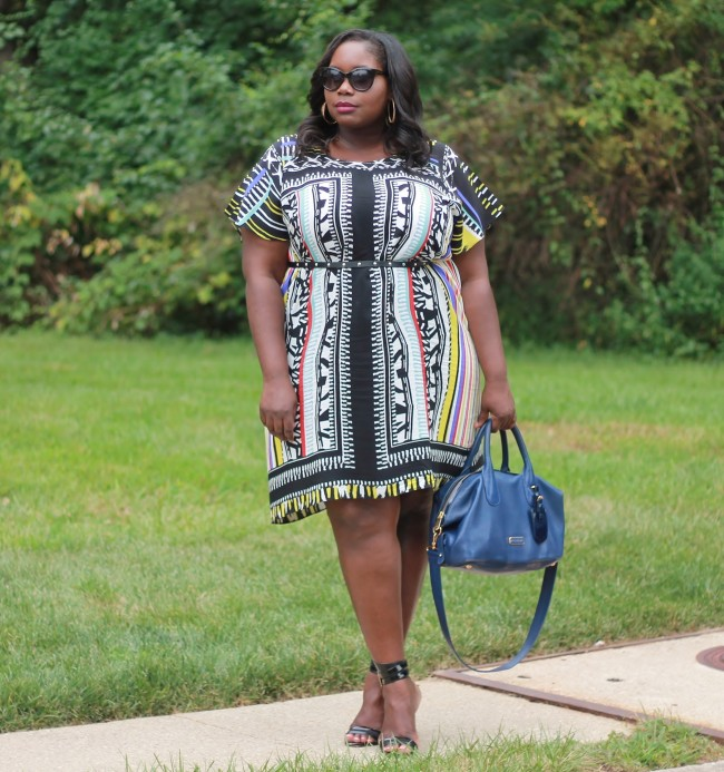 Eloquii Tribal Print Plus Size Shirt Dress