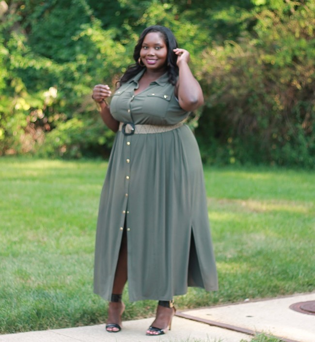 The Military Chic Plus Size Maxi Dress