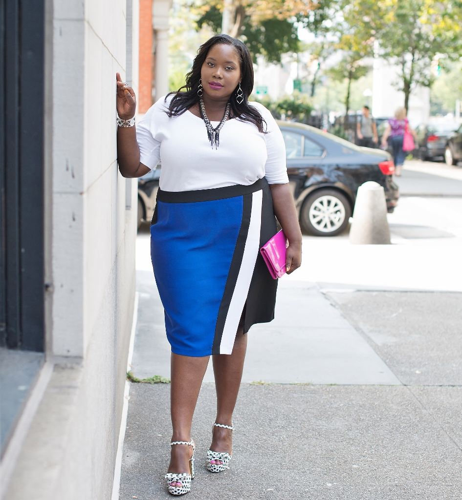 Simply Be Colorblock Pencil Skirt (945x1024)