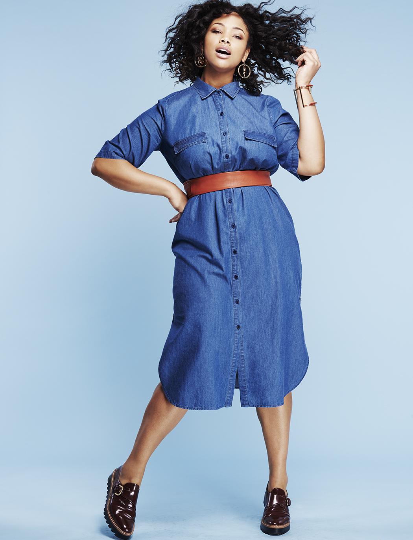 ELOQUII Into The Groove Denim Dress