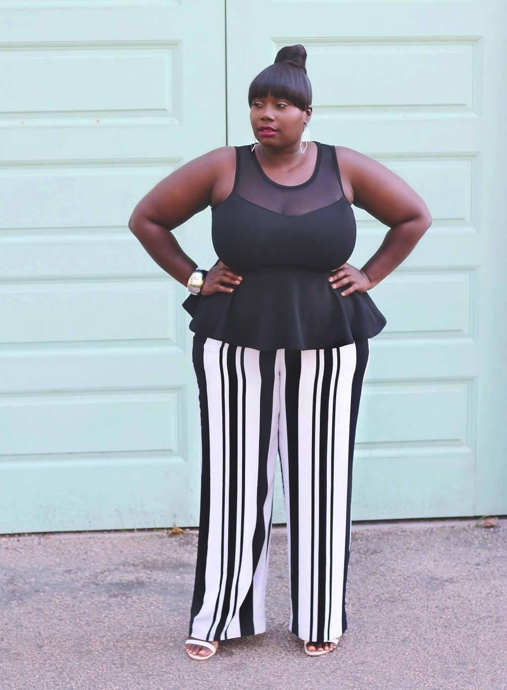 Stylish Curves In New York and Company striped pants