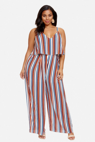 Fashion to Figure Janis striped plus size jumpsuit