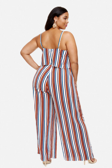 Fashion to FIGURE STRIPED PLUS SIZE JUMPSUIT