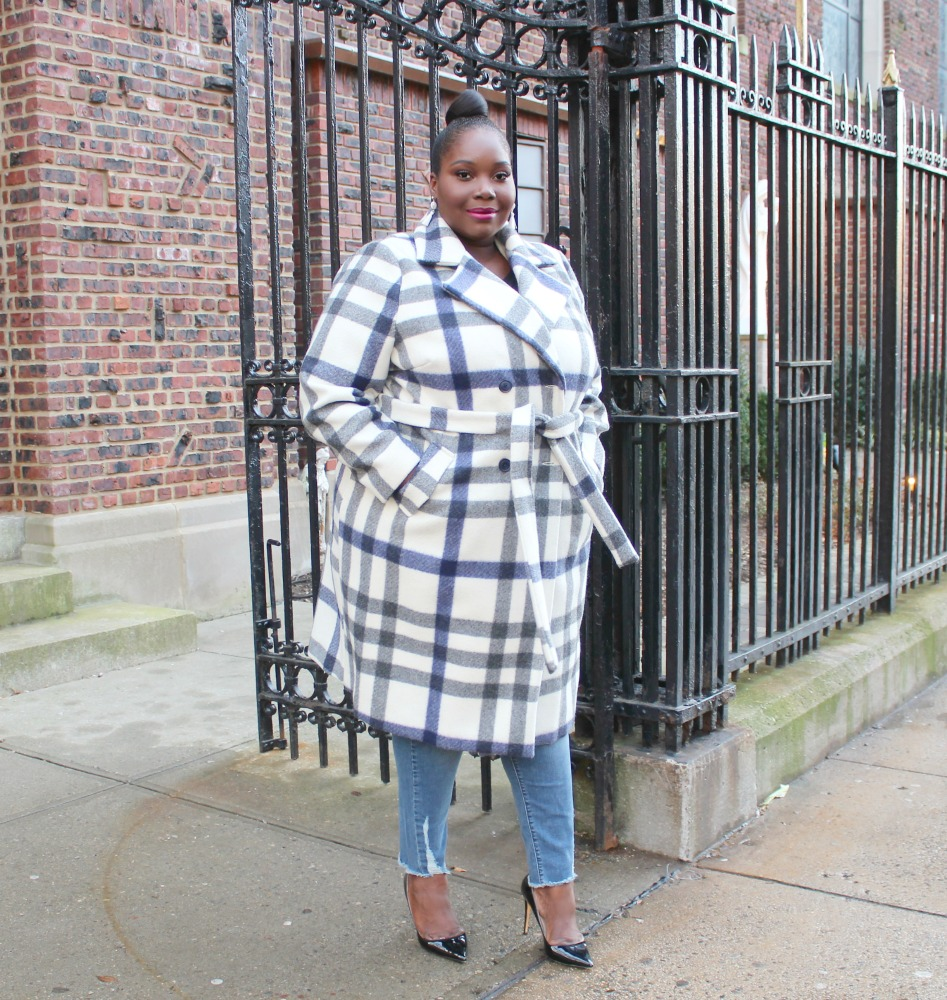 plus size plaid trend featuring Simply Be plaid coat