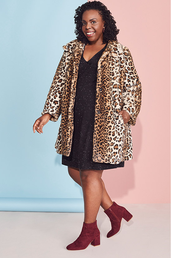plus size woman in leopard print coat