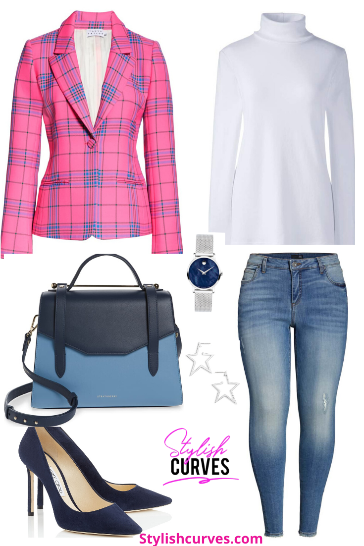 plus size winter outfits featuring a pink plaid Tanya Taylor blazer and skinny jeans.