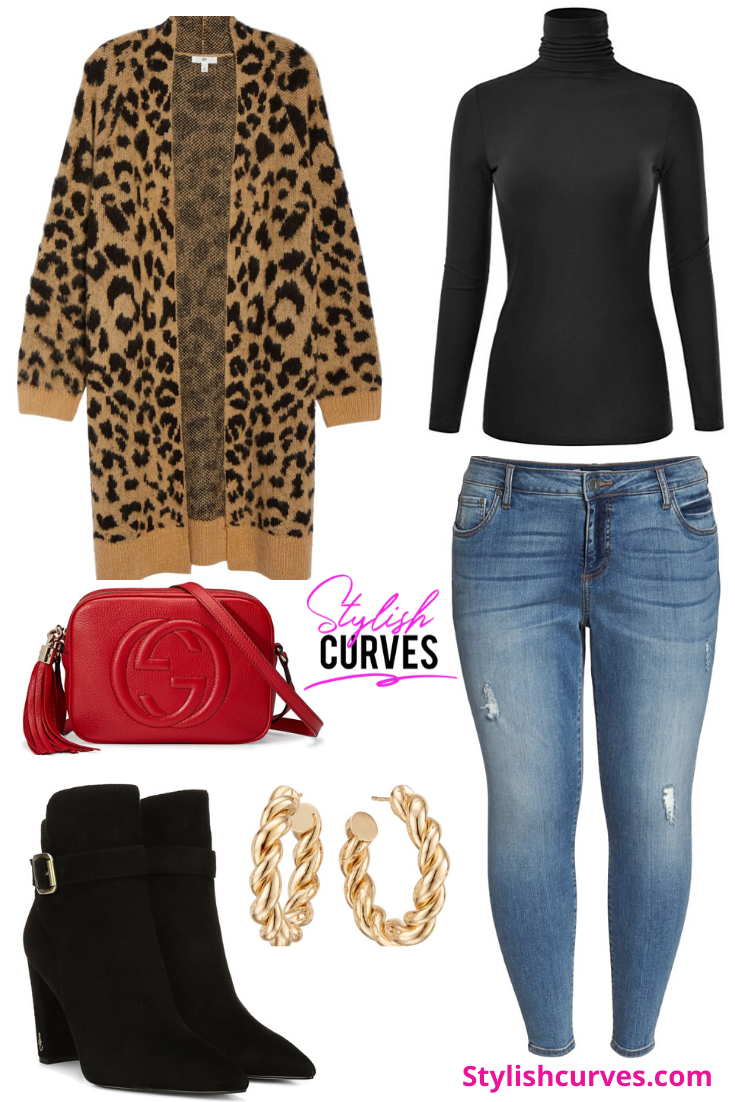 plus size winter outfits featuring a leopard print long open cardigan
