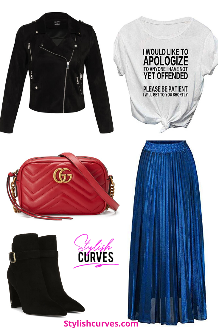 plus size winter outfits featuring a metallic blue pleated skirt