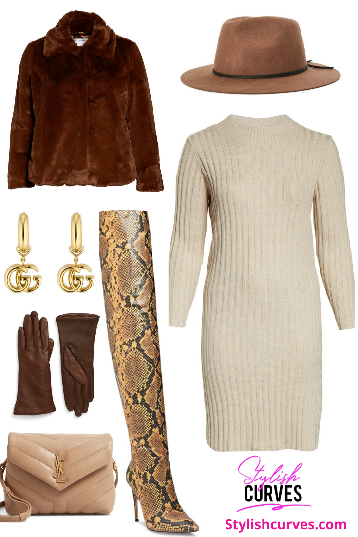 plus size winter outfits featuring a sweater dress and faux fur coat.