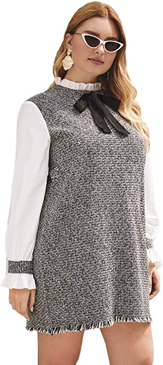 best plus size clothes on amazon featuring a tweed bow tie plus size dress